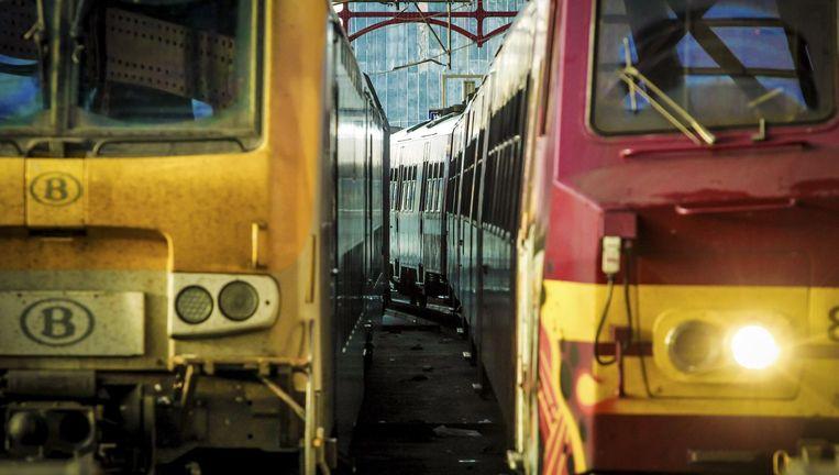 Stilstaande treinen in Antwerpen-Centraal.