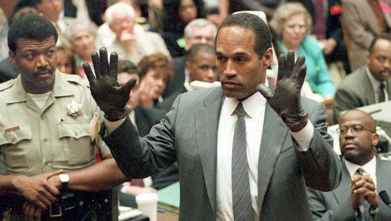 O.J. Simpson tijdens het proces. Beeld AFP