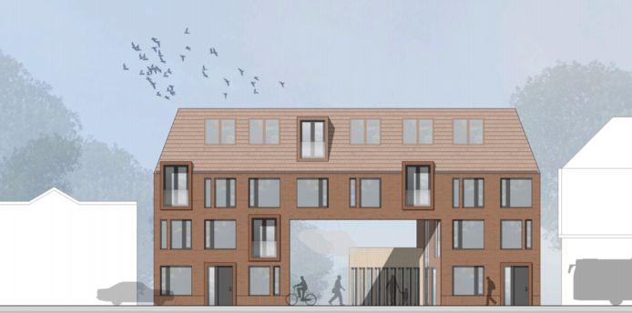 Op het parkeerterrein van Het Paleis komt de 'kop' van een nieuw appartementencomplex voor expats. Illustratie Flim Architecten.