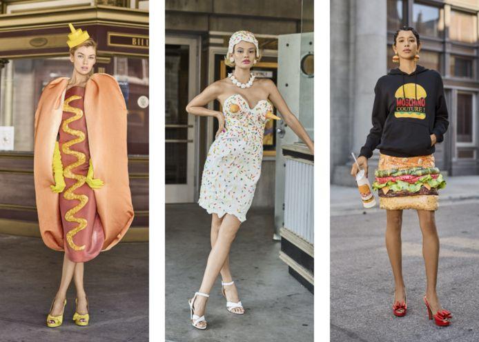 Enkele ontwerpen van het Italiaanse modehuis Moschino: een Amerikaans fastfoodfestijn, met links een hotdogjurk en bijhorend streepje mosterd, midden een buste met twee ijshoorntjes (en sprinkles!) en rechts een een hamburgerrok met augurkjes.