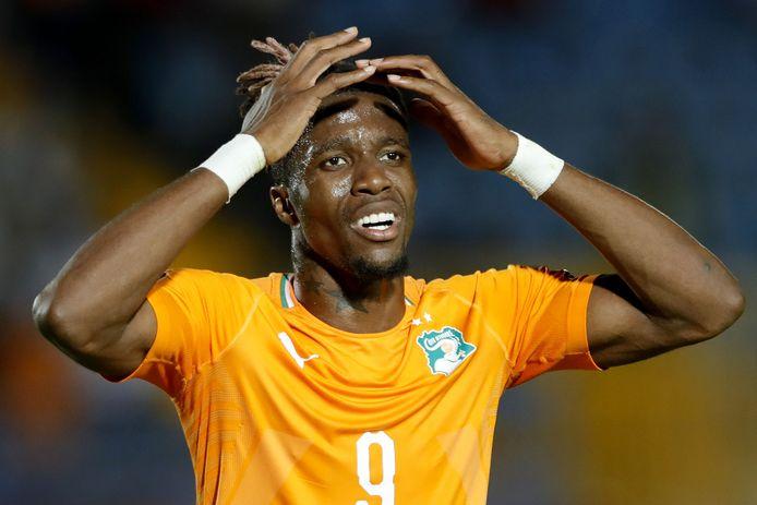 Wilfried Zaha in het shirt van Ivoorkust op de Afrika Cup deze zomer.