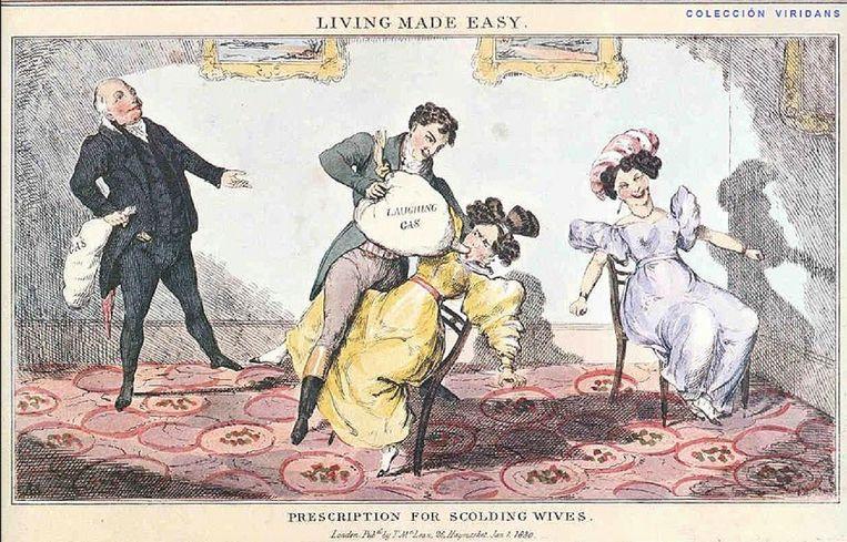 Een beeld waarop Humphry Davy (de uitvinder van het lachgas) een ballon toedient aan een vrouw, op één van de lachgasavonden die hij bij hem thuis organiseerde vanaf het jaar 1799. Beeld RV