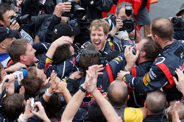 Vettel toen hij wereldkampioen werd voor Red Bull in 2012. Beeld REUTERS