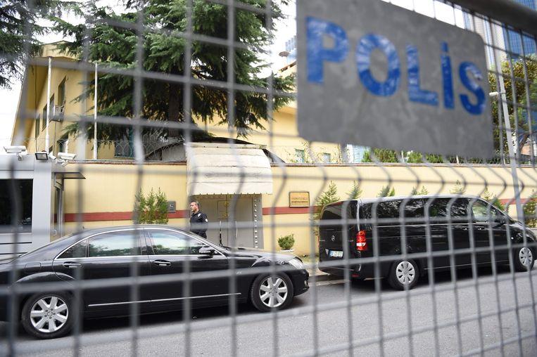De ingang van het consulaat van Saudi-Arabië in Istanbul. Beeld AFP