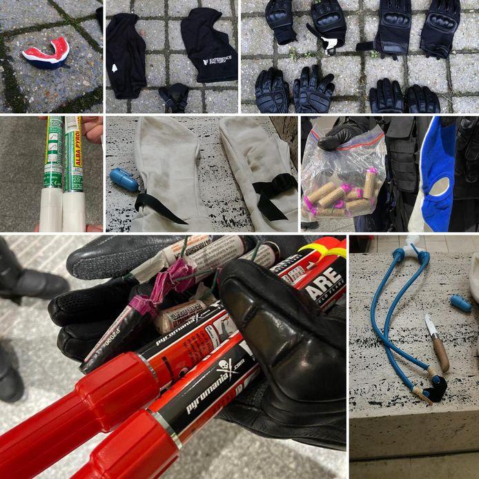 De politie vond heel wat wapens tijdens de betoging in Brussel.