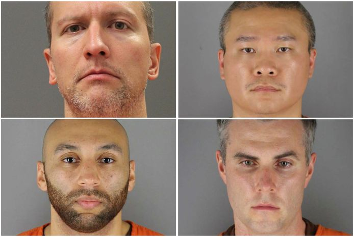 De vier oud-agenten, Derek Chauvin, Tou Thao, Thomas Lane and J. Alexander Kueng, die nu aangeklaagd worden