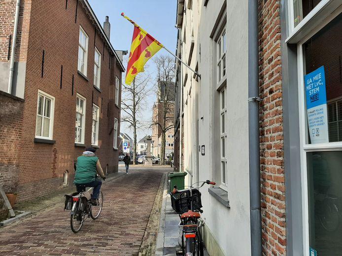 De Graafse vlag én een poster van een inwoner die graag bij de nieuwe gemeente Land van Cuijk hoort.