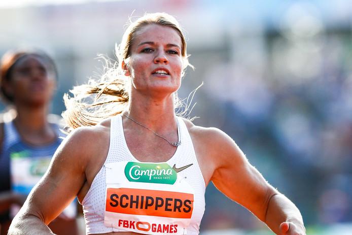 Dafne Schippers tijdens  de 200 meter op de  FBK Games.