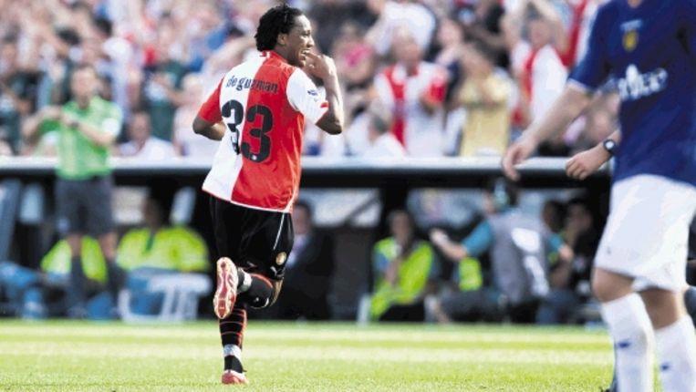 De Guzman geniet na van zijn tweede en Feyenoords vierde treffer. (ANP) Beeld