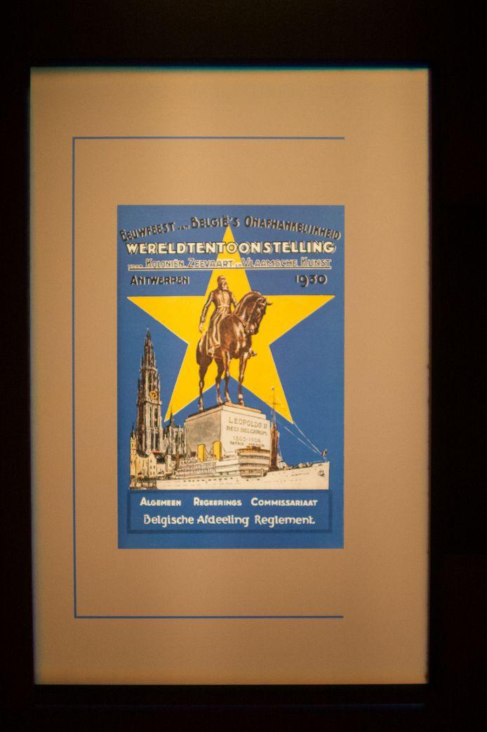 De poster van de aankondiging van de derde Wereldtentoonstelling in Antwerpen in 1930.