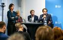 Links Marjolein Demmers, directeur Natuur & Milieu, tijdens een persconferentie van milieugroeperingen naar aanleiding van het klimaatakkoord.