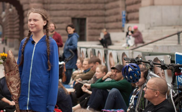 Milieuactiviste Greta Thunberg in 'I Am Greta'.  Beeld AP