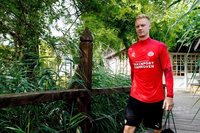 Timo Baumgartl tijdens het trainingskamp van PSV in Marienfeld.