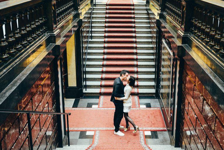 Een huwelijk met zijn tweetjes: Roel en Claire. Beeld Eva Vlonk