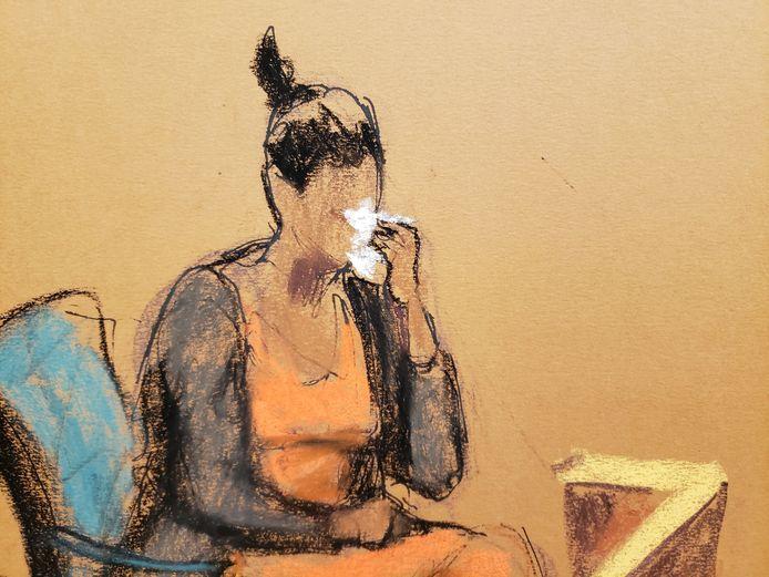 Jane Doe #5 huilt tijdens haar getuigenis