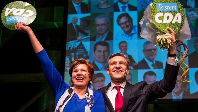 Partijvoorzitter Ruth Peetoom en fractieleider Sybrand Buma tijdens het congres van het CDA. Beeld anp