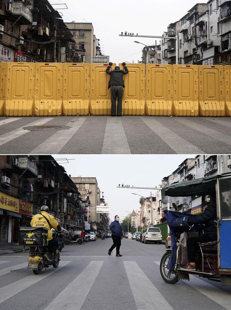 Boven: een man voert een gesprek door een barricade heen. Dit voorjaar waren dergelijke afsluitingen in Wuhan aan de orde van de dag, om verspreiding van het virus te voorkomen. Onder een foto van begin december. Het normale leven is in Wuhan grotendeels hervat. Beeld Getty Images