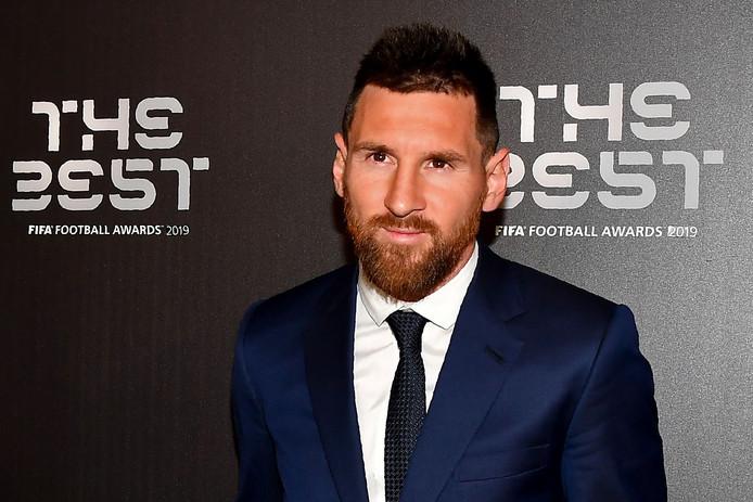 Lionel Messi op het FIFA gala waar hij Van Dijk dit jaar voor bleef in de verkiezing van de wereldvoetbalbond.