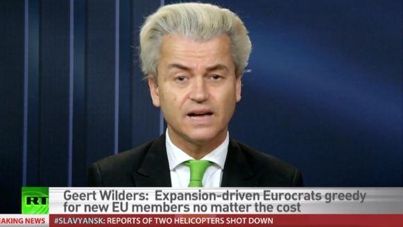 Geert Wilders tijdens het interview op de Russische staatsomroep RT