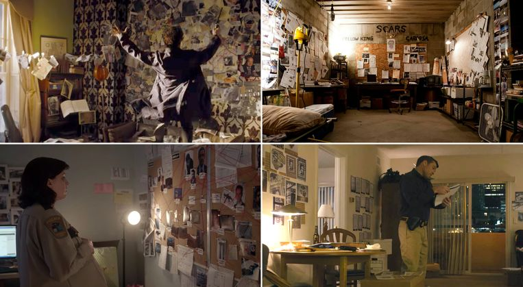 Murder boards in de huiskamer. Met de klok mee vanaf linksboven: Sherlock, True Detective, Manhunt en Fargo.  Beeld