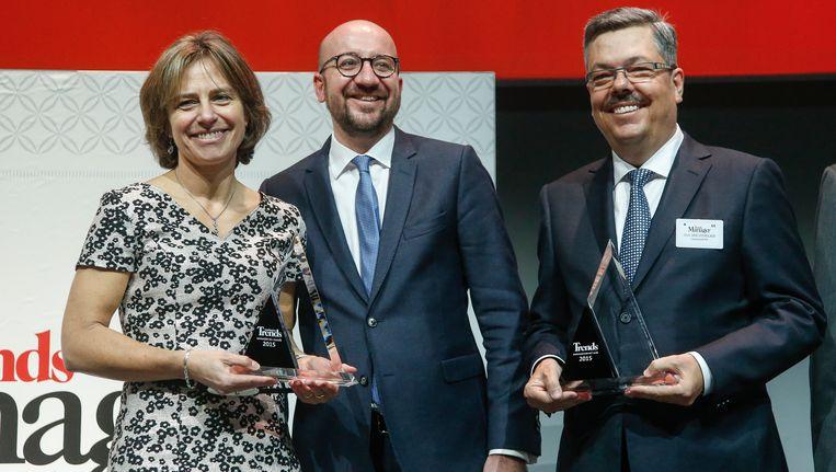 Premier Louis Michel reikte in Brussel de prijs uit. Beeld BELGA