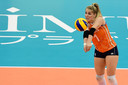Kirsten Knip als libero bij Oranje.