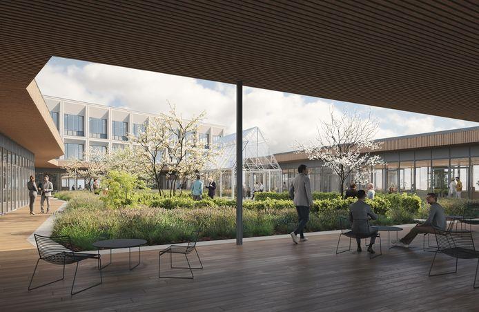 Een voorbeeld van hoe het nieuwe blok en de binnentuin er zal uitzien.