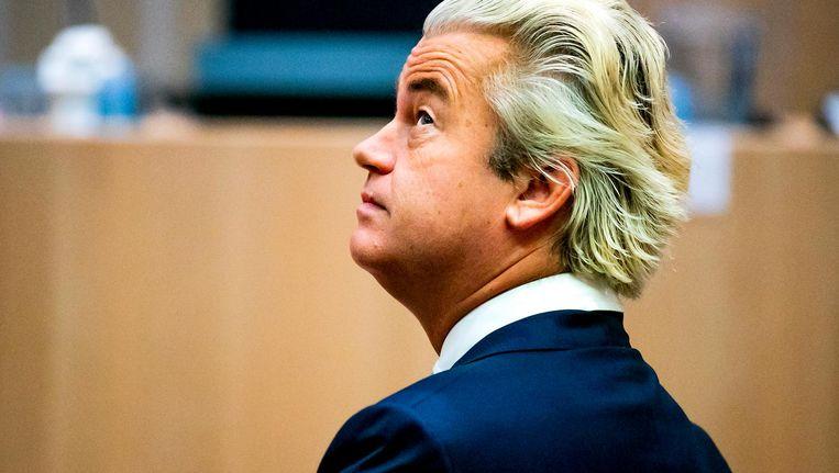 Geert Wilders in de rechtbank van het Justitieel Complex Schiphol voor de hervatting in het proces tegen hem op 30 november jl. Beeld ANP