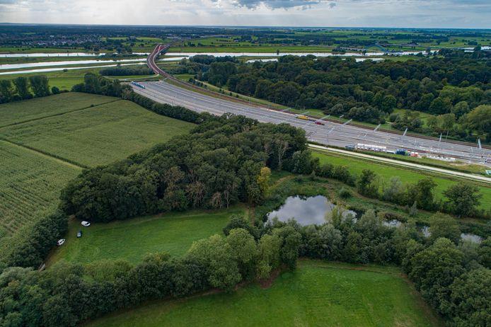 Een deel van landgoed Schellerberg, met op de achtergrond het rangeerterrein, de IJssel en de fietssnelweg naar de spoorbrug.