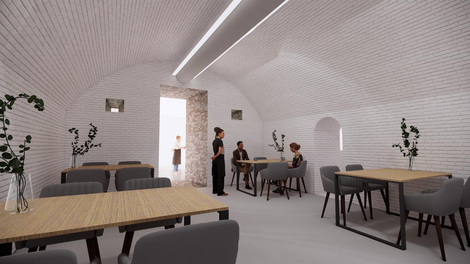Sfeerimpressie plannen Fort Buitensluis: het nieuwe restaurant.