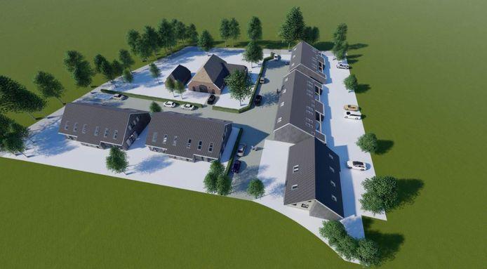 Een voorbeeld van een tot woonhuizen omgebouwde boerderij met stallen.
