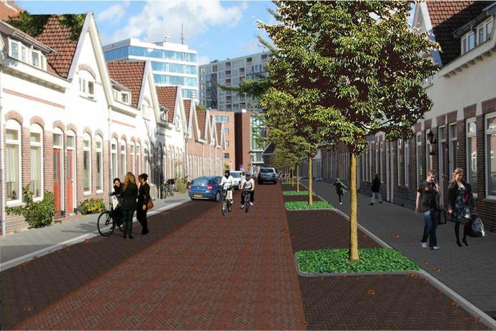 De Annastraat in Philipsdorp in Eindhoven. Dit is het voorbeeld van de inrichting die ook de Plataanbuurt krijgt.
