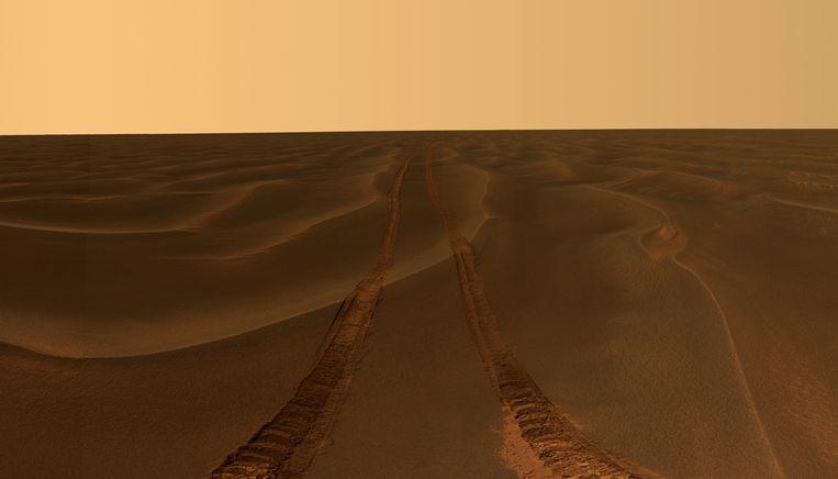 Een spoor, gemaakt door Opportunity. Beeld ap