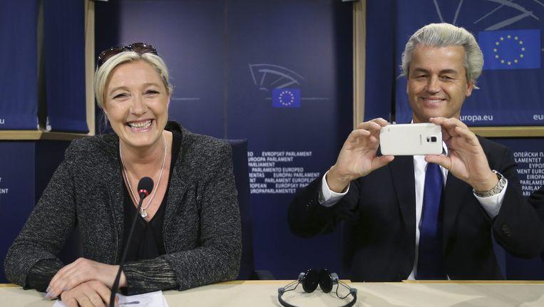 Marine Le Pen en Geert Wilders vandaag in Brussel. Beeld reuters