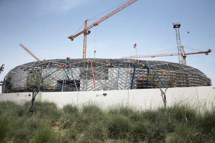 Een WK-stadion in aanbouw in Doha, Qatar.