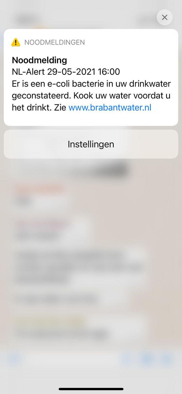 Brabantwater stuurt een noodmelding aan mensen in de regio Kempen.