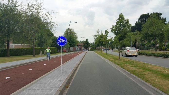 Foto-impressie van het dubbele fietspad aan de Land van Ravensteinstraat in Uden. De aanwonenden voelen meer voor een enkel fietspad aan beide zijden van de weg, zo bleek donderdagavond.