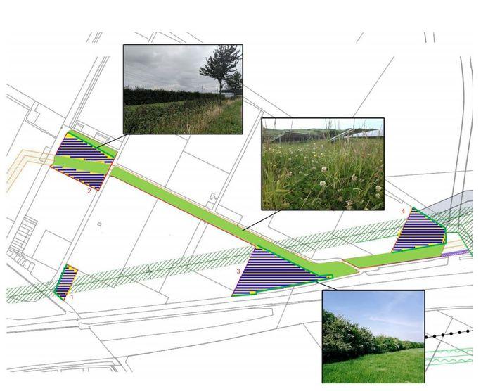 Landschappelijke inpassing van de vier zonnevelden in de Bathpolder bij Rilland. Het kleinste veld (linksonder) komt te vervallen. Ook  het zuidelijke deel van veld 2 (linksboven) is geschrapt.