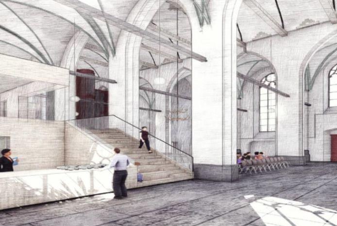Zo moet de Clemenskerk er na de verbouwing uit gaan zien.