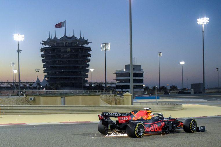 Max Verstappen op het Bahrain International Circuit. Beeld AFP