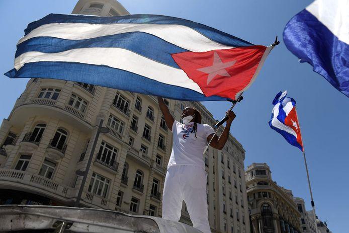 Manifestation contre le gouvernement cubain à Madrid, le 25 juillet dernier.