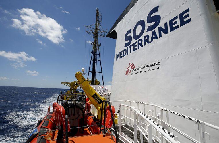 De Aquarius, een eerder schip gecharterd door Artsen zonder Grenzen om vluchtelingen op de Middellandse zee te hulp te schieten.  Beeld AFP