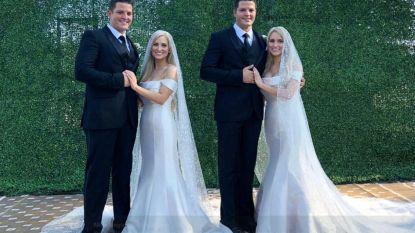 """Identieke tweelingzussen trouwen met identieke tweelingbroers in gezamenlijke ceremonie: """"We gaan allemaal samen in een huis wonen"""""""