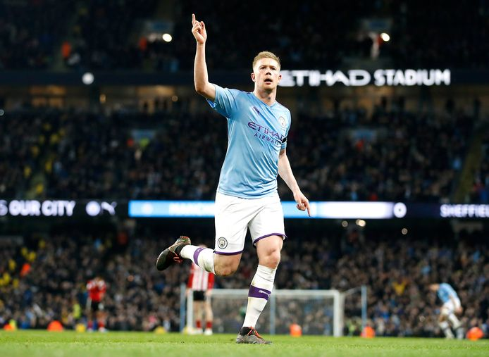 Kevin De Bruyne viert één van zijn goals voor City.