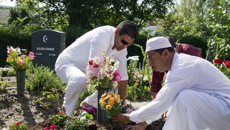 Moslims op Haagse begraafplaats Oud Eik. Beeld null