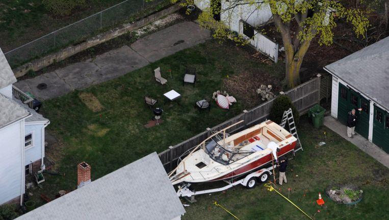 Politiefoto van de boot waarin Dzjochar Tsarnajev zijn boodschap zou hebben geschreven Beeld afp