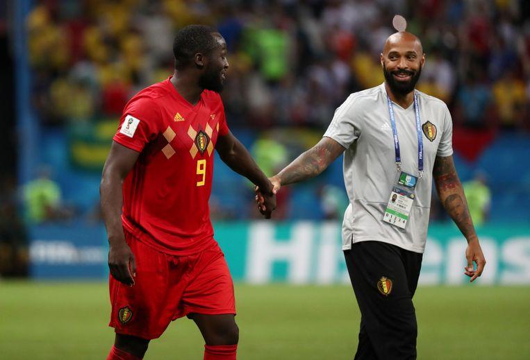 Romelu Lukaku en Thierry Henry tijdens het WK van 2018. Beeld REUTERS