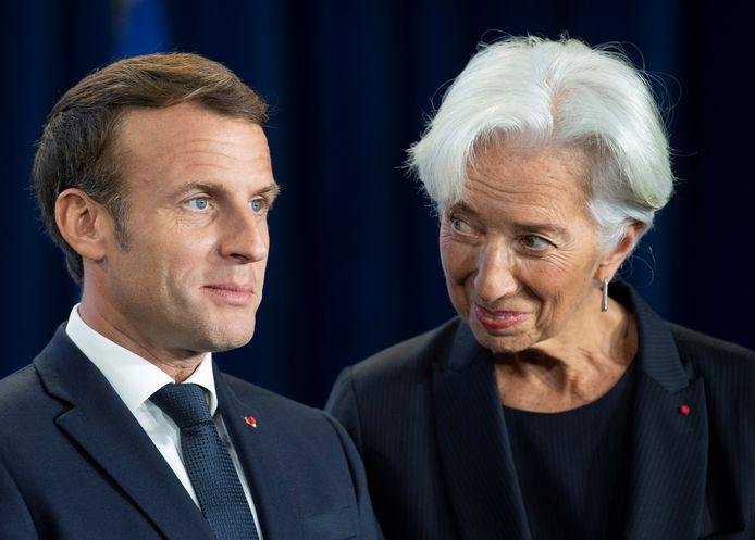 De Franse president Emmanuel Macron en toekomstig ECB-baas Christine Lagarde tijdens een ontmoeting deze week in Duitsland.