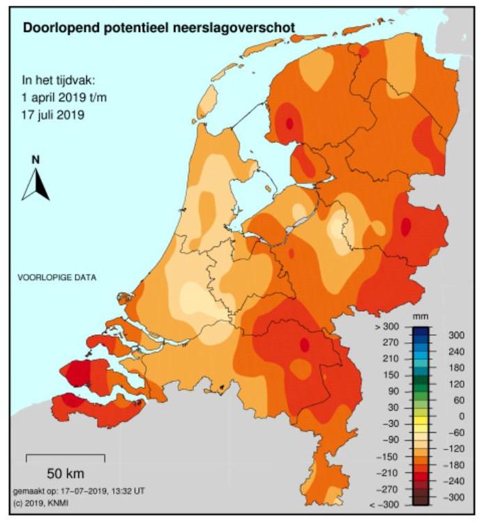 Het actuele neerslagtekort in Nederland.