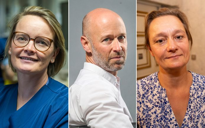 Jasperina Dubois, intensiviste à l'hôpital Jessa à Hasselt, l'intensivist Geert Meyfroidt (UZ Leuven) et la virologue Erika Vlieghe (UZ Antwerpen).